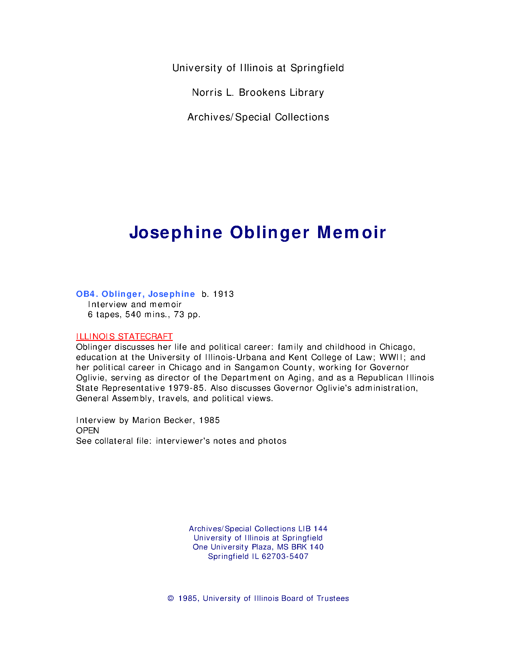 Josephine Oblinger Memoir Part 1 The Oral History Collection Of The University Of Illinois At Springfield Illinois Digital Archives