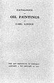 Catalogue of oil paintings by Carl Lindin : Chicago, Jan.3-22, 1911.
