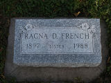 Gravestone of Ragna D. French