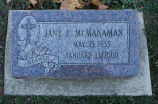 Gravestone of Jane F. McManaman