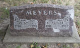 Gravestone of Ruby G. and Clarence F. Meyers.