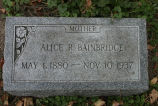 Gravestone of Alice R. Bainbridge.