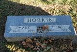 Gravestone of Mary & Tom Horkin