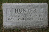 Gravestone of Andrew L. and Anna L. Hunter