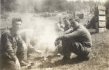 Soldiers eating rations