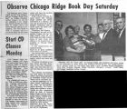Newspaper articles on Chicago Ridge book day, Civil Defense classes, and the United Presbyterian...