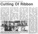 Newspaper article and photograph of the Chicago Ridge Public Library ribbon cutting ceremony, 2002
