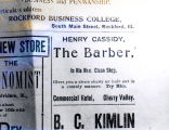 Henry Cassidy ,the barber, advertisment, 1886.