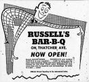 Advertisement for Russell's Bar-B-Q Restaurant