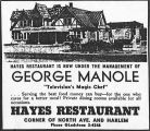 Advertisement for Hayes Restaurant