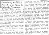 Founder of Evanston Played Up in Story in Colorado Newspaper