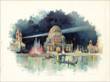 The Chicago Tribune Art Supplements.  World's Columbian Exposition.  At Night in the Grand Court.