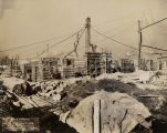 Field Museum construction site photograph railroad tracks used to drop off supplies near...