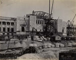 Field Museum construction site photograph -- view of south entrance with marble for columns in...