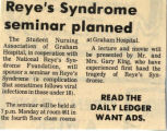 197-.2.Community.1 Reye's Syndrome seminar planned