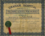 1913.14.1 Graham Hospital Training School for Nurses Diploma