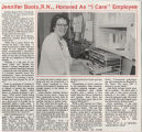 "1987.2.Alumni.1 Jennifer Boots, R.M., honored as ""I Care"" employee"