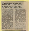 1985.2.Honors.1 Graham Names Honor Student