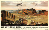 War supplies for Russia...a convoy of British and American lorries streams along the Persian route...