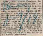 Penstone, Clara -- News Clipping