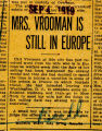 Vrooman, Julia Scott -- News Clipping
