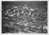 Aerial view of downtown Springfield and Capitol building