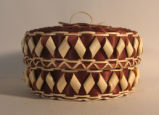 Potawatomi Round basket with diamond ribbon work (20th C)