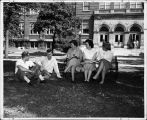 Students in front of Elgin High School, circa 1950s