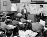 Henry Peddle (Geography and Sociology Instructor, 1960-1995) teaching Geography class, circa 1960s.
