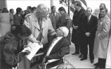 Fifth President Paul Heath Greets First President Gil Renner at ICT Topping Out Ceremony