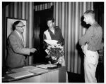 President Renner Greets Two Students in 1959