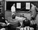 Mike Alft, Political Science faculty (right), in Government class, circa 1952