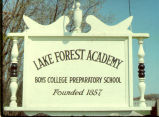 School Sign, Lake Forest Academy, 1972