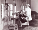 Nurse and Student in School Infirmary, Ferry Hall, circa 1940s