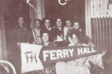 Students holding school pennant, Ferry Hall, 1911