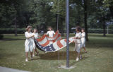 Students Raise the Flag at the School Flagpole, Ferry Hall, 1941