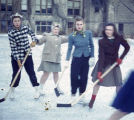 Students Playing Ice Hockey on Campus, Ferry Hall, Winter 1941