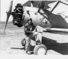 Fred James with his airplane at Machesney Airport