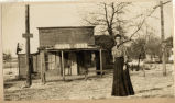 Mary O. Hinkley in front of the Roscoe Post Office