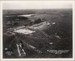Seminary train terminal and parking for Eucharistic Procession aerial photograph