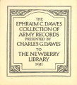 Ephraim C. Dawes collection of Army records, Newberry Library 3