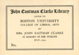 Boston University College of Liberal Arts, John Eastman Clarke Library memorial