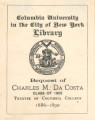 Columbia University, bequest of Charles M. Da Costa