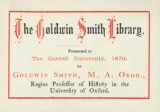 Goldwin Smith Library presented to The Cornell University