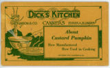 Dick's Kitchen About Custard Pumpkin: How Manufactured How Used In Cooking Booklet
