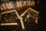 Ashes, broken picture frames , and relatively undamaged books, after the April 19, 1989...