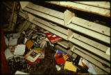 Books and bookshelves damaged as a result of the April 19, 1989 firebombing of the Joliet Public Library.