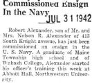 Commissioned Ensign in the Navy