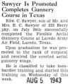 Sawyer Is Promoted Completes Gunnery Course in Texas
