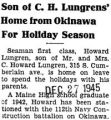 Son of C. H. Lungrens' Home From Okinawa For Holiday Season